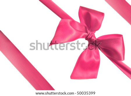 pink ribbon and bow isolated on white background - stock photo