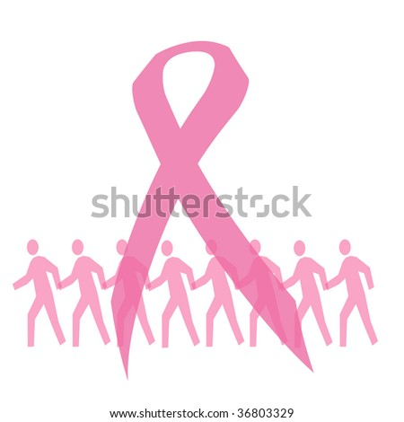 pink ribbon and people walking for breast cancer illustration - stock photo