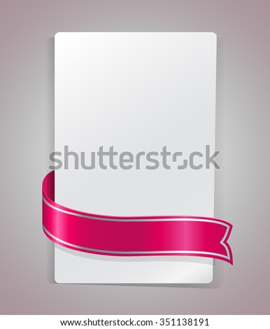 Pink ribbon bending around blank paper card template. - stock photo