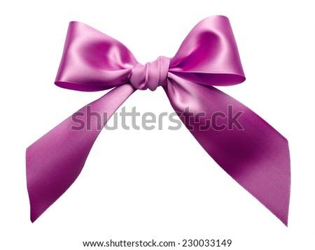 Pink Ribbon Bow isolated on White Background - stock photo