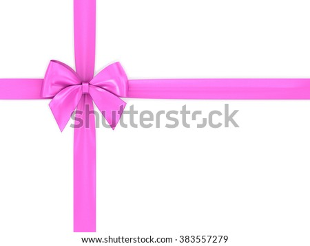 Pink ribbon bow on a white background.