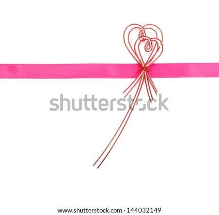 Pink ribbon bow on white background - stock photo