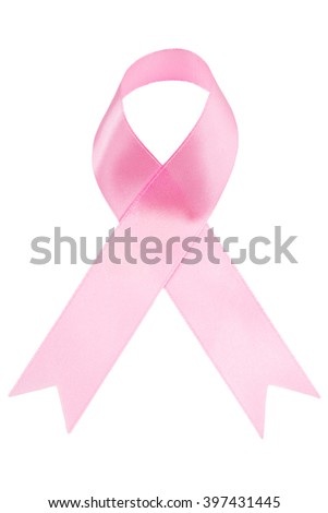 Pink ribbon breast cancer isolated on white background  - stock photo