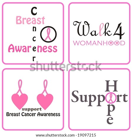 Pink ribbon designs for Breast Cancer Awareness - stock photo