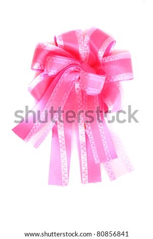 Pink ribbon isolated in white background - stock photo