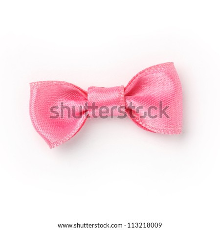 Pink ribbon isolated on white background - stock photo