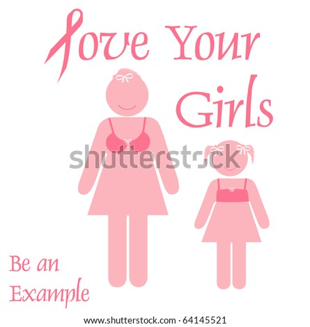 pink ribbon mother and daughter poster illustration - stock photo