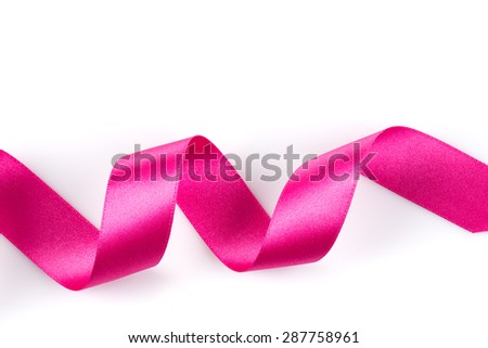 Pink ribbon over white background, design element - stock photo