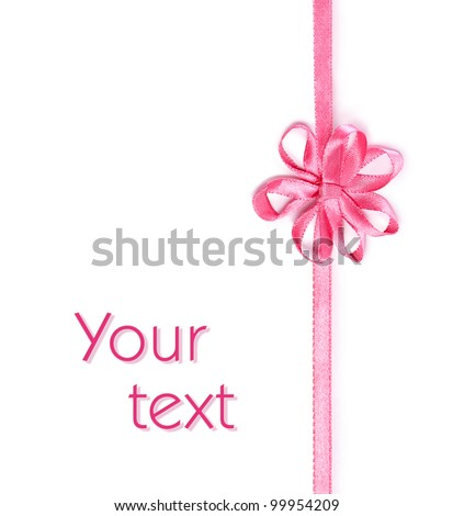 pink ribbon with bow in the form of a flower isolated on a white background