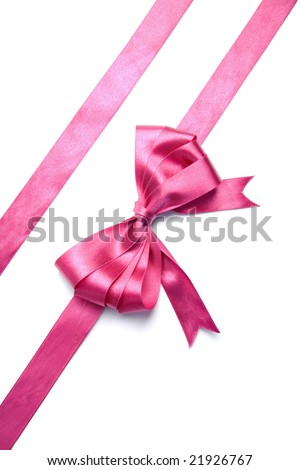 pink ribbon with bow isolated - stock photo