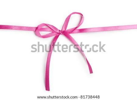 pink ribbon with bow isolated on a white background