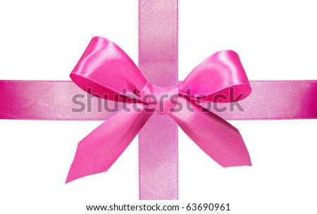 Pink ribbon with bow isolated on white