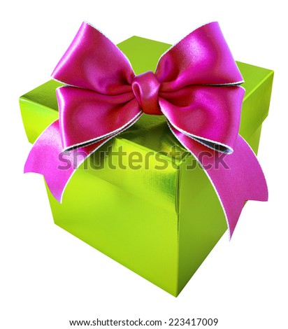 Pink Ribbon with Green Gift Box on white background - stock photo