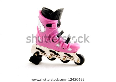 pink rollerblade isolated on a white background - stock photo
