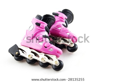 pink rollerscates isolated on a white background - stock photo