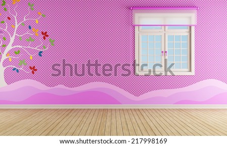 Pink room for girl with window and decoration on wall - rendering - stock photo