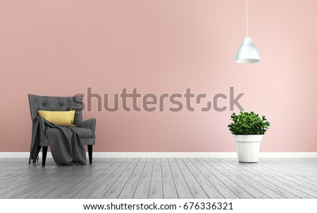 Pink Room Armchair Living Room Interior Stock Illustration 676336321 ...