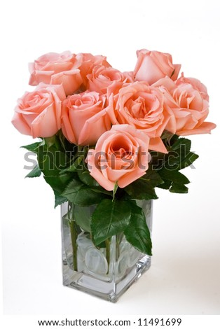 Pink Rose Flower in a Vase - stock photo