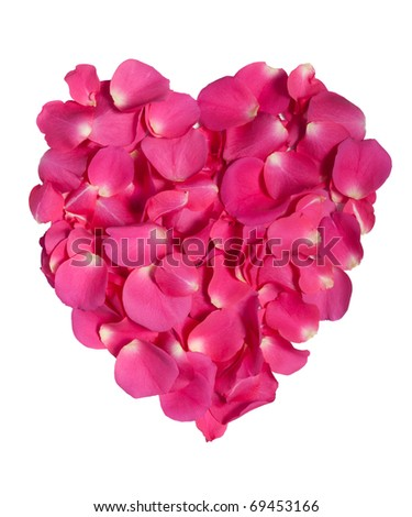 Pink rose petals as heart on white with clipping path - stock photo