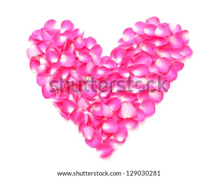 Pink Rose Petals Heartshape on White Background Top