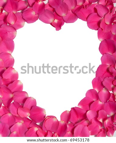 Pink rose petals surround white heart. Clipping path. - stock photo