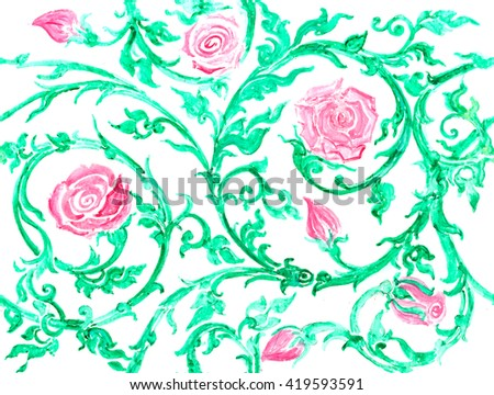 pink rose vine watercolor art hand paint on white background , Mosaic Pattern Design , roses pattern in retro style with trailing vines and large flowers suitable for fabric or interior design - stock photo