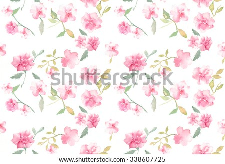Pink Rose watercolor pattern seamless background - stock photo