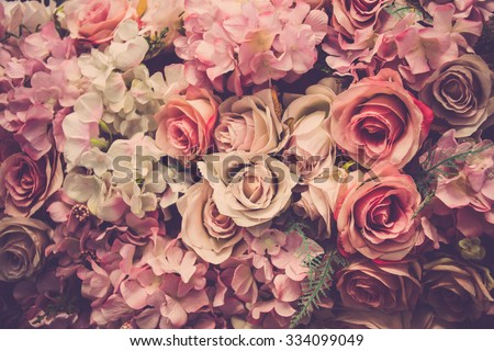 Pink roses background. Retro filter. - stock photo