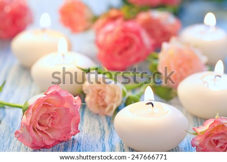 Pink roses bouquet on a wooden table - stock photo