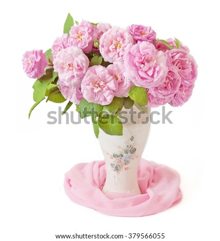 Pink roses bunch in vase isolated on white background - stock photo