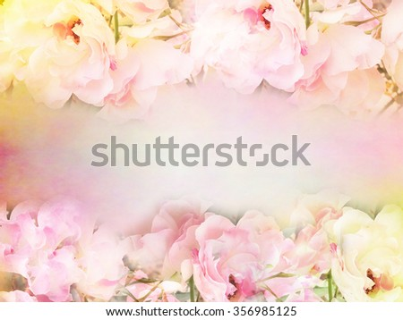 pink roses flower border and frame in vintage color for valentine background and wedding card - stock photo