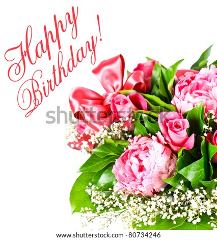 Pink Roses. Happy Birthday. Card concept - stock photo