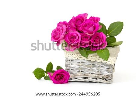 pink roses in a basket on white background - stock photo