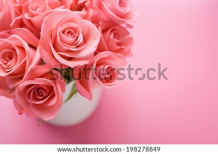 Pink Roses In The White Vase