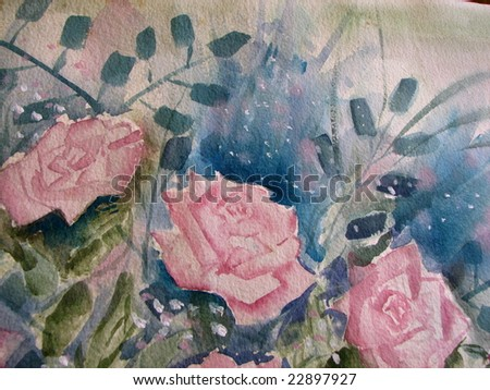 Pink Roses in Watercolor 3 - stock photo