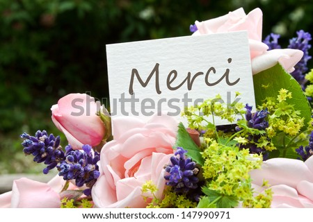 pink roses, lavender and card with lettering thanks/roses/thanks - stock photo