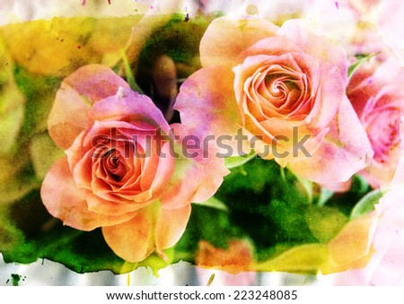 pink roses - styled picture with watercolor texture - stock photo