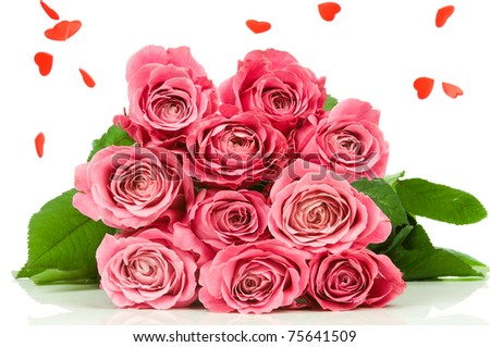 Pink roses with heart rain isolated on white background - stock photo