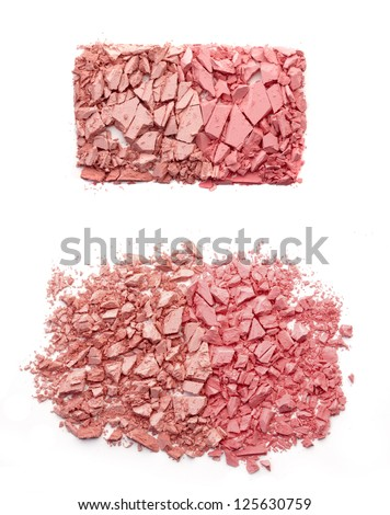 Pink rouge isolated on white - stock photo