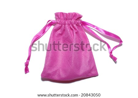 Pink sack for gifts isolated on white background.