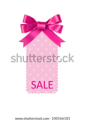 Pink sale tag with ribbon bow isolated on white - stock photo