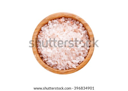 pink salt isolated on white background. top view