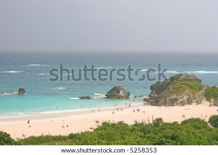 Pink sand beaches on the coast of Bermuda - stock photo
