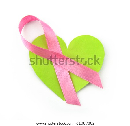 Pink satin breast cancer awareness ribbon - stock photo