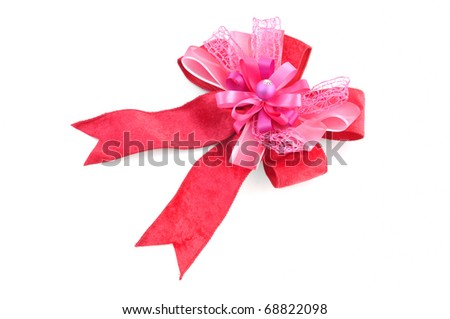 pink satin gift bow isolate on white
