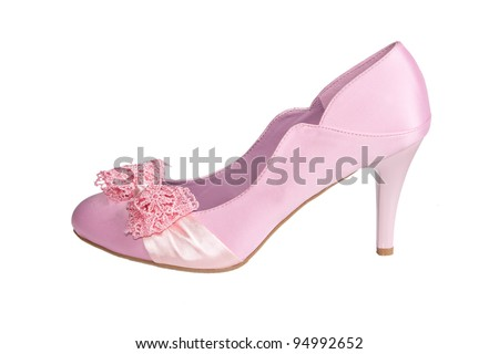 pink satin shoe isolated on a white background