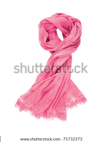 Pink scarf isolated on white background - stock photo