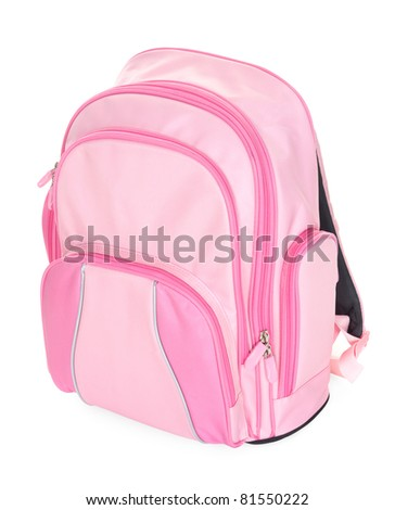 Pink school backpack isolated on white - stock photo