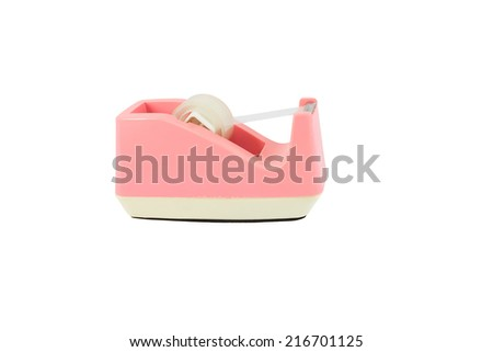 pink Scotch tape on white background - stock photo
