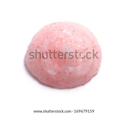 Pink Scrub Sample isolated on white  - stock photo